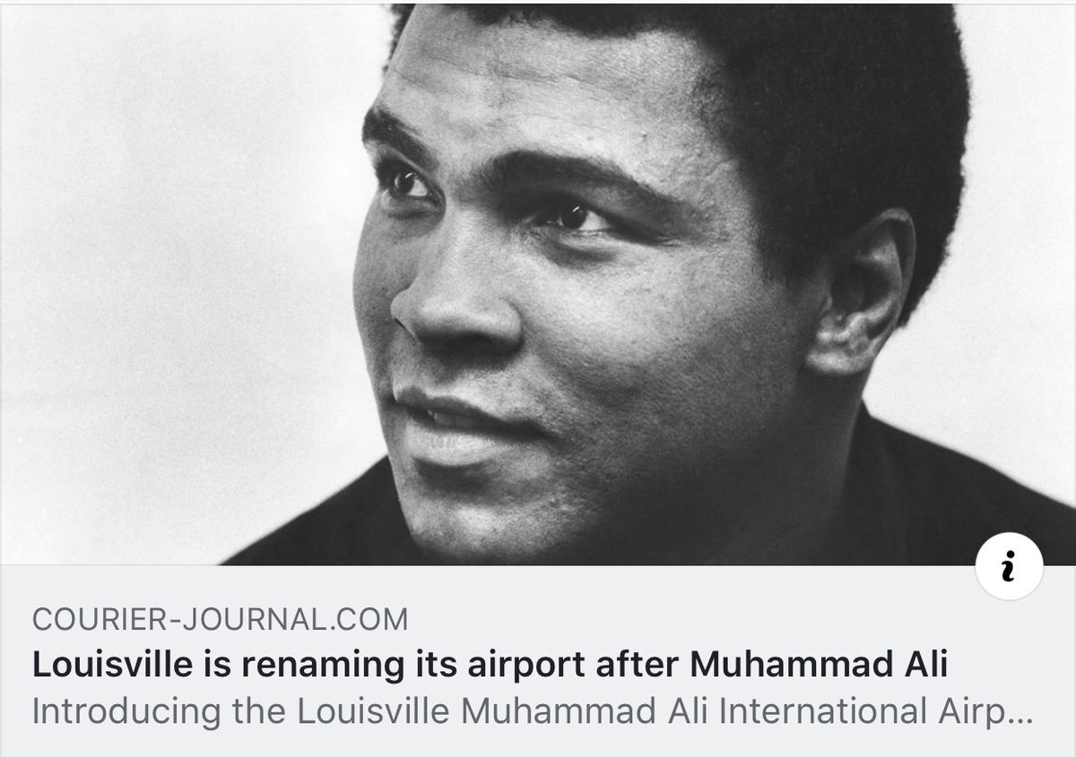 #BREAKING: Louisville is renaming its airport after Muhammad Ali!   Article:  https://www. courier-journal.com/story/news/201 9/01/16/louisville-airport-sdf-getting-new-name/2594657002/ &nbsp; …  via @courierjournal<br>http://pic.twitter.com/KozN0MfqzL