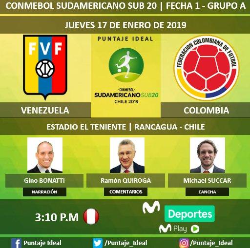 #SudamericanoSub20  🇨🇴#Colombia  vs. #Venezuela  🇻🇪 🎙 Narración: @BonattiDi 🎙 Comentarios: Ramón Quiroga ⛳  Campo de Juego: @MSUCCAR 📺 @MovistarDeporPe 📱 #MovistarPlay 🤳 @Sub20Chile2019 Dale RT 🔃