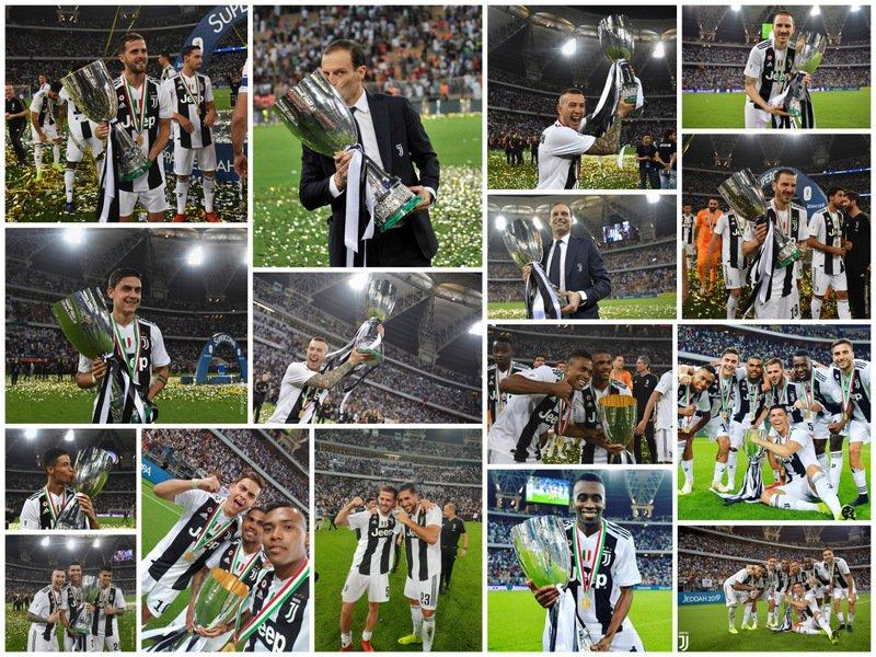 #Supercoppa #JuveMilan (1-0) ⚪⚫🔴⚫: 📸 Las fotos de los festejos del plantel con la #SupercoppaItaliana 🇮🇹🏆🥇, en el 🏟 King Abdullah Sports City Stadium de #Jeddah 🇸🇦.   #SuperJuve 👏👏