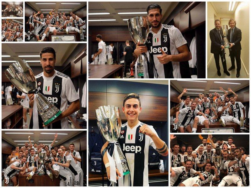 #Supercoppa #JuveMilan (1-0) ⚪⚫🔴⚫: 📸 Las mejores fotos de los festejos con la #Supercoppaitaliana 🏆🥇🇮🇹 en el vestuario. ⬇  #SuperJuve 👏👏🖤🦓