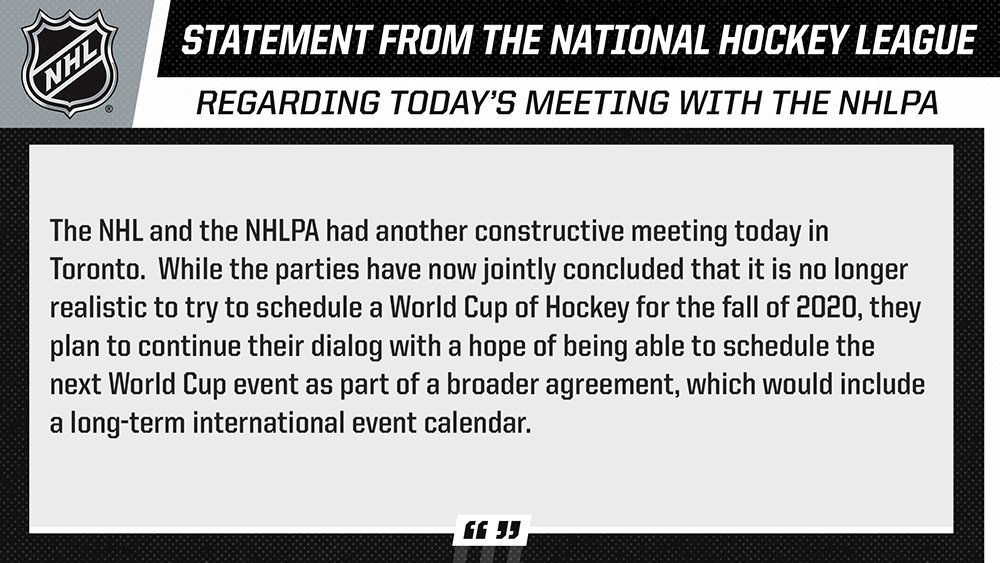 Nhl Public Relations On Twitter Nhl Statement Regarding Today S