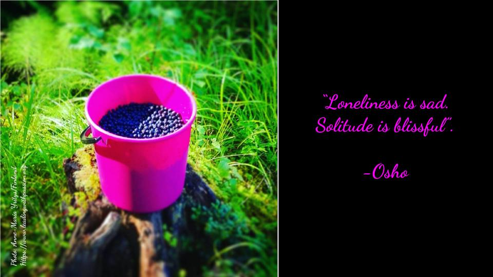 """Loneliness is sad. Solitude is blissful"". -Osho http://bit.ly/AWARENESS111  #business #leadership"