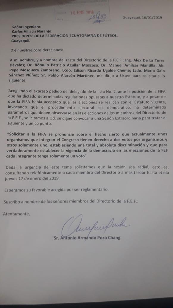 #ATENCIÓN #URGENTE  Directorio de @FEFecuador pide a Carlos Villacís convocar a una Sesión Extraordinaria VÍA TELEFÓNICA para mañana y cambiar las reglas del juego de las #EleccionesFEF. Proponen voto igualitario de Asos y clubes por 'expreso pedido del delegado de la Lista 2'.