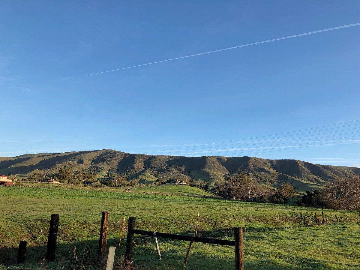 Blue skies ahead of next storm, greenest January in years...#slo , #ednavalley