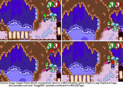 In Mario &amp; Luigi: Superstar Saga, walking against the plant in this corner of the Hoohoo Village cave (top left) with Mario in front will make Mario seemingly disappear (top right). However, Mario is simply teleported very high up and will fall down after a while (bottom). <br>http://pic.twitter.com/W13xSbPQf6