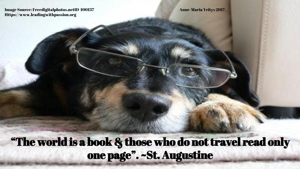 """The world is a book and those who do not travel read only one page"". ~St.Augustine http://bit.ly/KNOWLEDGE333  #mindfulness"
