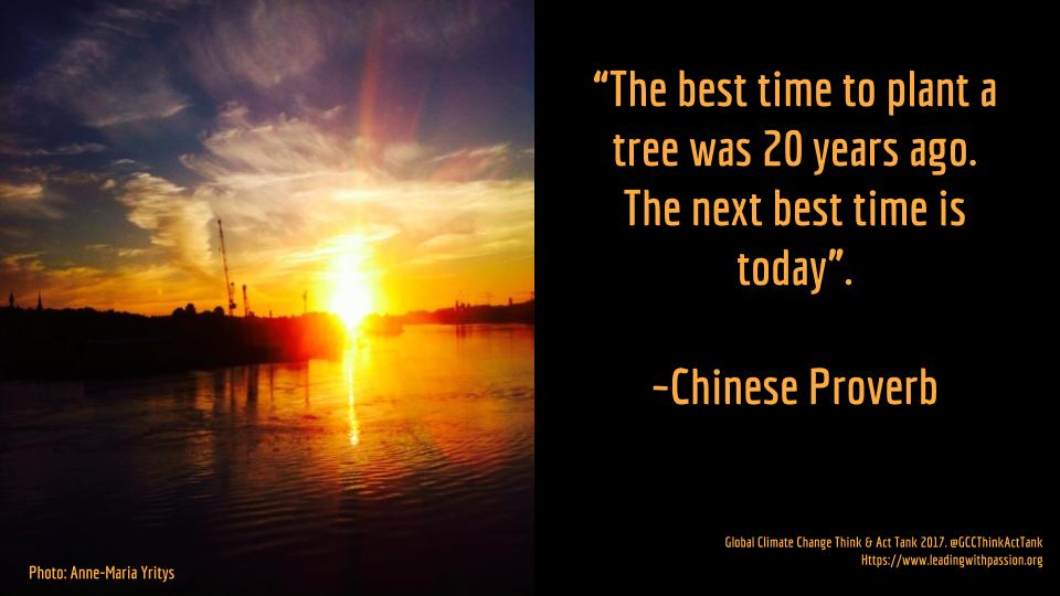 """""""The best time to plant a tree was 20 years ago. The next best time is today"""".   -Chinese Proverb http://bit.ly/ClimateChangeAMY… #climatechange #climateaction"""
