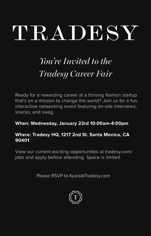 WE ARE HIRING! Tradesy is hosting a Career Fair on 1/23/19. We will be interviewing for the following roles.  -Product Catalog Associate -Returns & Authentication Specialist  -Customer Support Rep.  Apply prior  on https://t.co/4GvwH2uWZq and RSVP at Kyara@tradesy.com https://t.co/AUWBJSCzPc