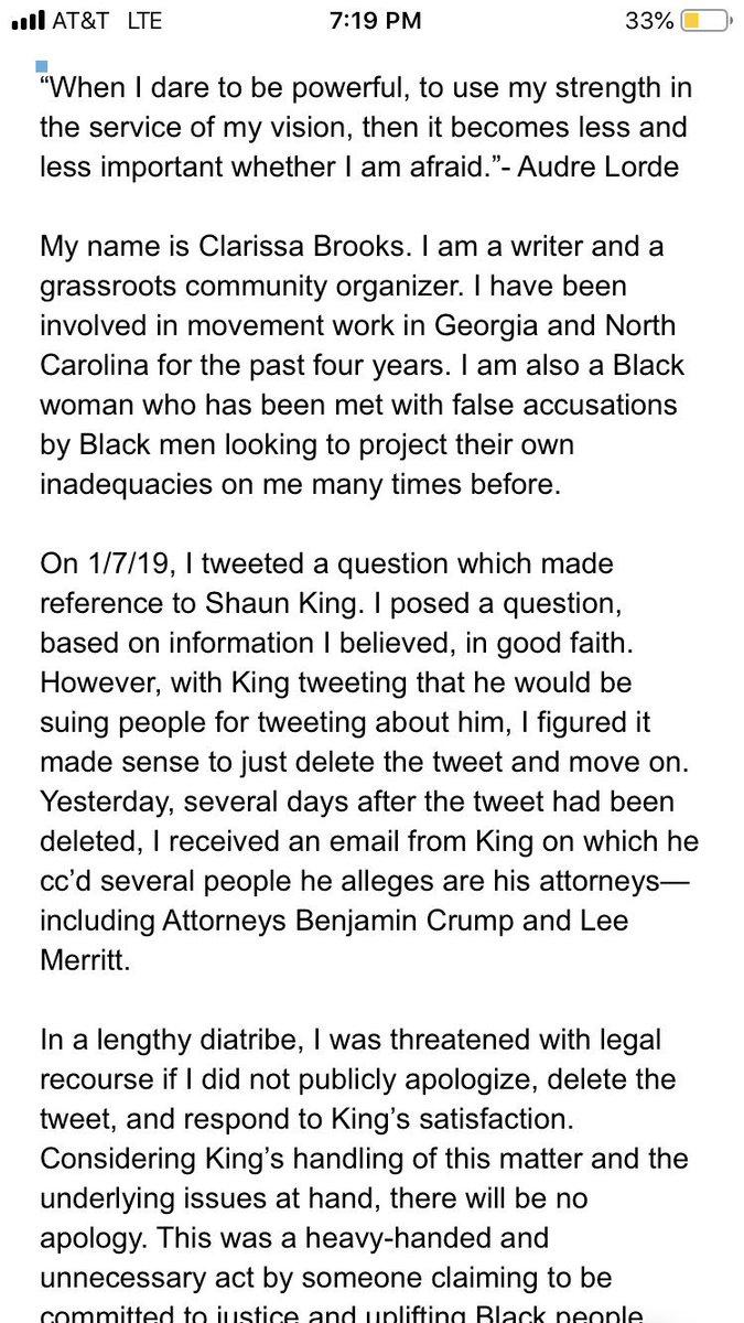 My statement regarding Shaun King: