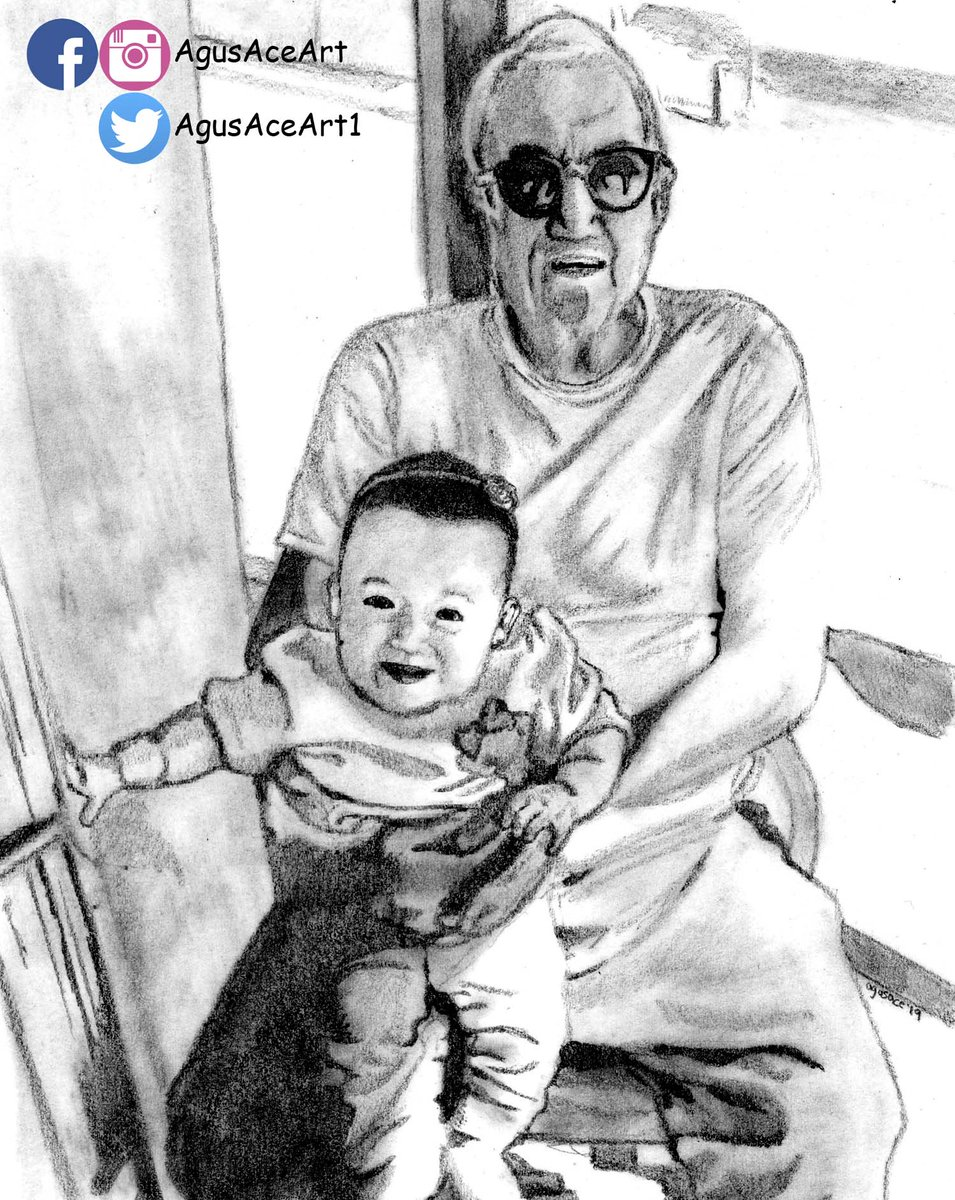 Agus ace art on twitter baby girl and her grandpa sketch pencil