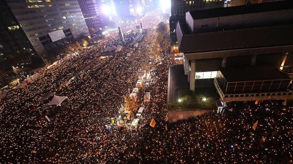 This is South Korea protesting their corrupt President. The people proved their power and he was removed.   This needs to happen in America.