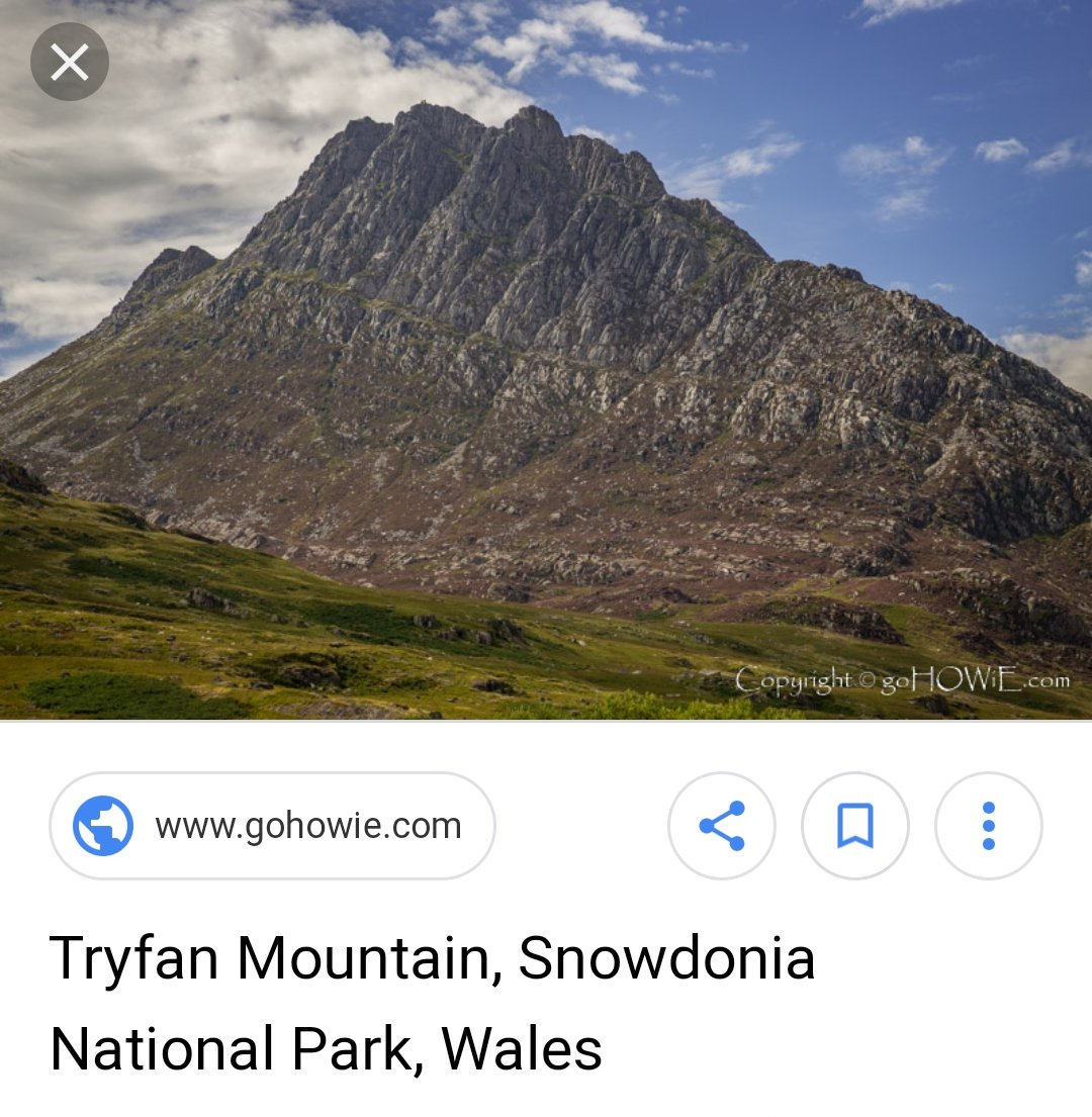 Image search result for Tryfan, a mountain in Snowdonia, Wales