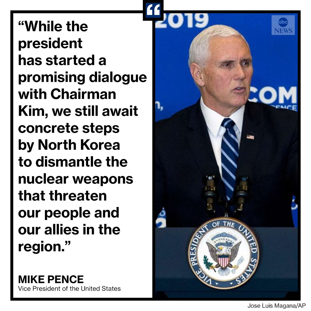 Vice Pres. Mike Pence says North Korea has still not taken 'concrete steps' to dismantle its nuclear weapons program. https://t.co/MNo7su0lOb