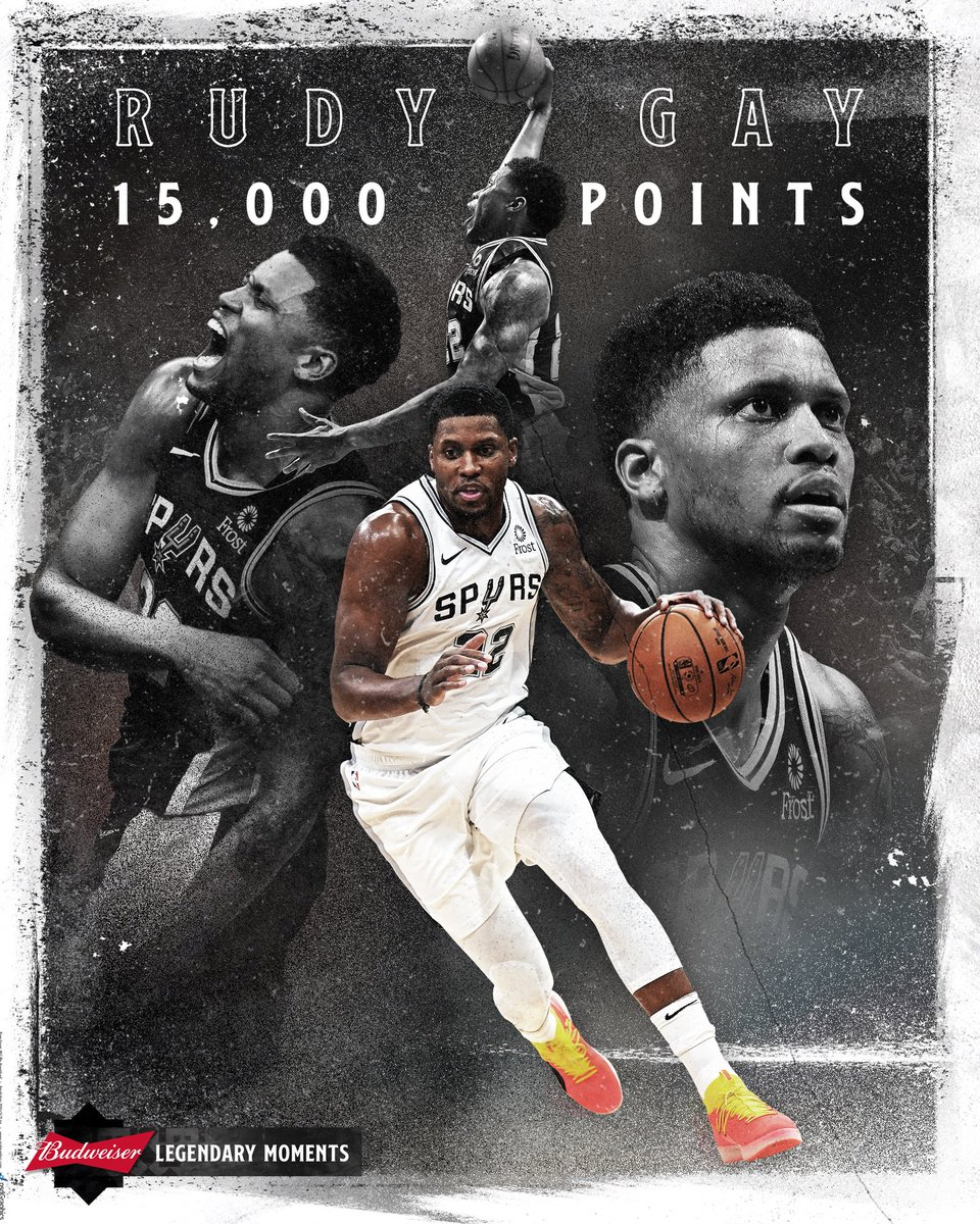 Congrats on 15,000 career points, Rudy!   @Budweiser | #GoSpursGo  <br>http://pic.twitter.com/9dPapjkR4K