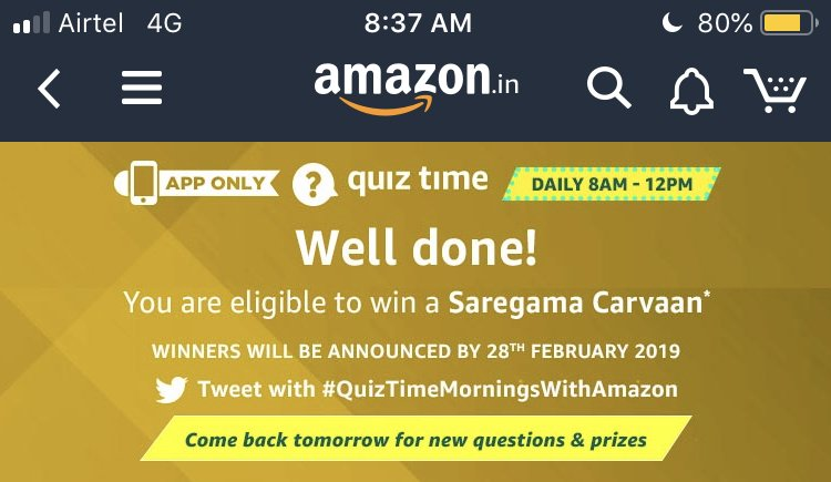 #QuizTimeMorningsWithAmazon , hope to win today Amazon  <br>http://pic.twitter.com/lhIM4T0KEs