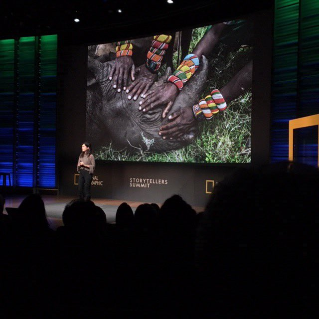 Very excited about the #natgeostorysummit! Photographer @Amivee on stage speaking about #Kenyans protecting & caring for #elephants, as well as Kaitlin Yarnall, Vice President of Media Innovation for the @NatGeo Society on stage with @dominicbracco, Tara Roberts & Walé Oyéjidé!