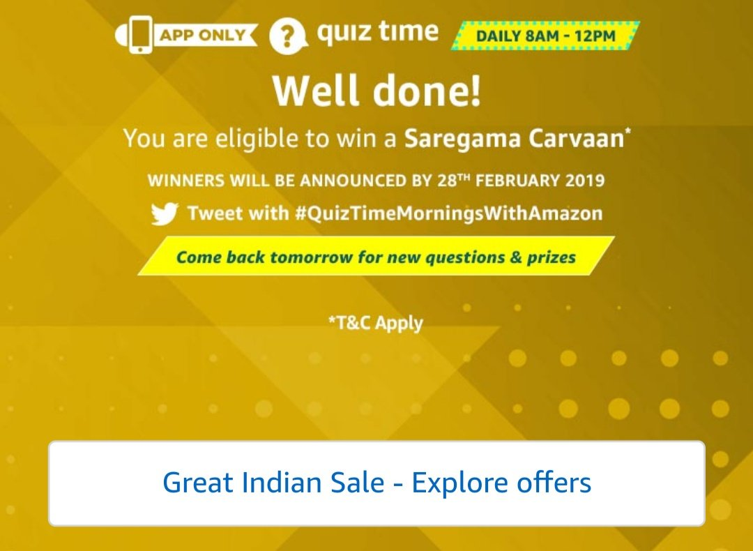 #QuizTimeMorningsWithAmazon @Amazon Answered all five questions.hope I win. <br>http://pic.twitter.com/xeiypiubZl