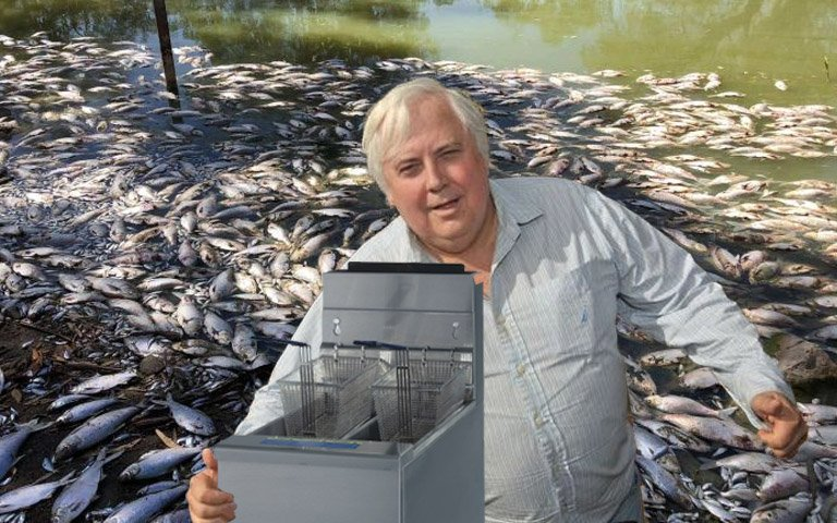 Clive Palmer Arrives At Menindee Lakes With Deep Fryer And A Couple Bags Of Frozen Chips: https://t.co/PefCyFwVL8 https://t.co/rk75aXDlWX