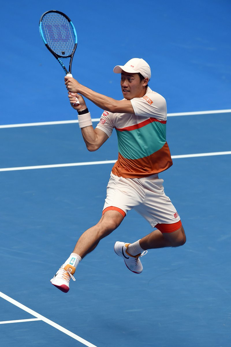 SPECIAL KEI!  Pushed to a final set 10 point tiebreak, he&#39;s into the 3R. Def. Karlovic 6-3 7-6(6) 5-7 5-7 7-6(7).  #GameSetMatch  #AusOpen <br>http://pic.twitter.com/fJ72KBUw7s