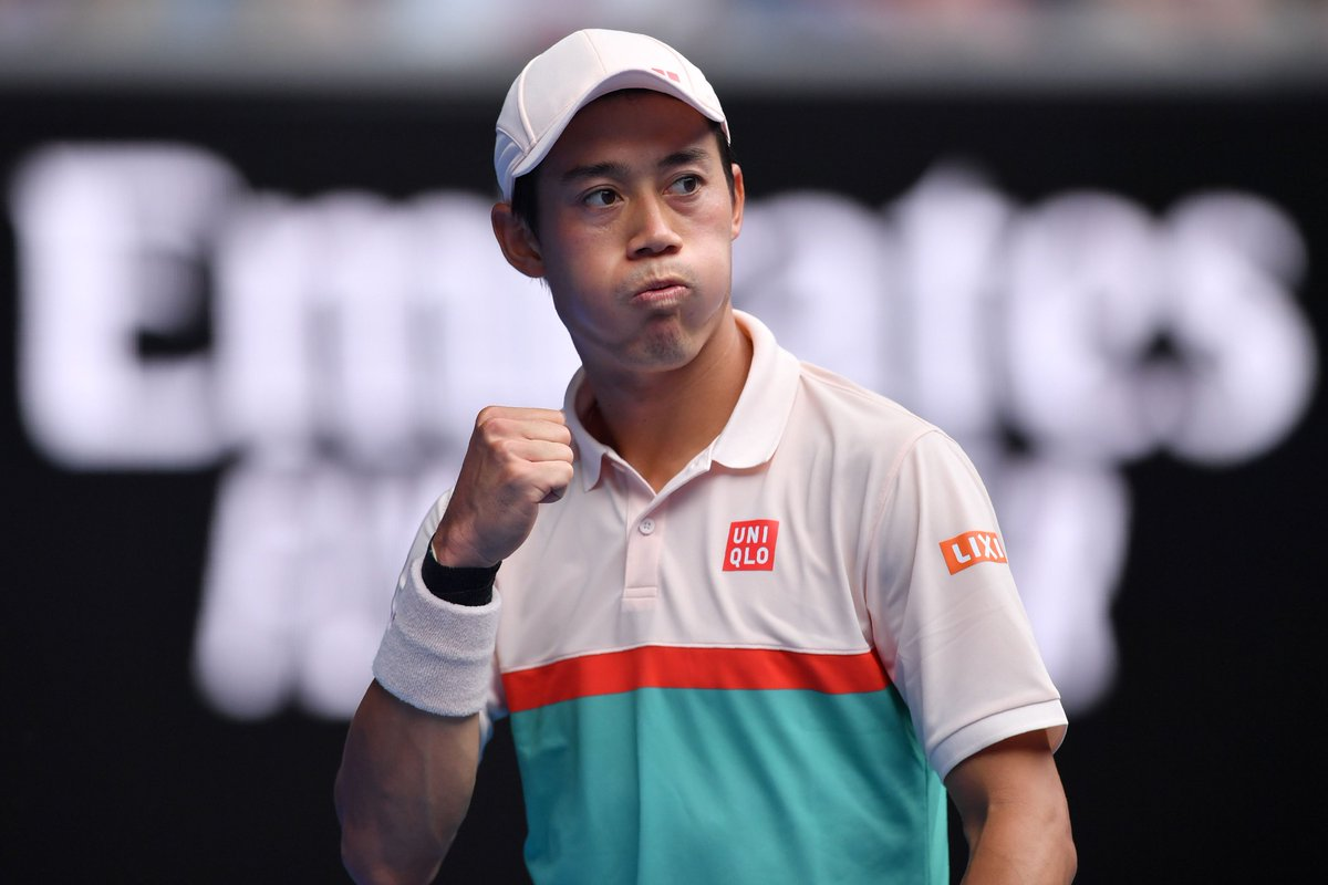 And exhale...  @keinishikori wins an epic 6-3, 7-6, 5-7, 5-7, 7-6 battle over Karlovic to reach R3 at the @AustralianOpen.  Sound off on the match  #AusOpen <br>http://pic.twitter.com/4RjSK4Zg8J