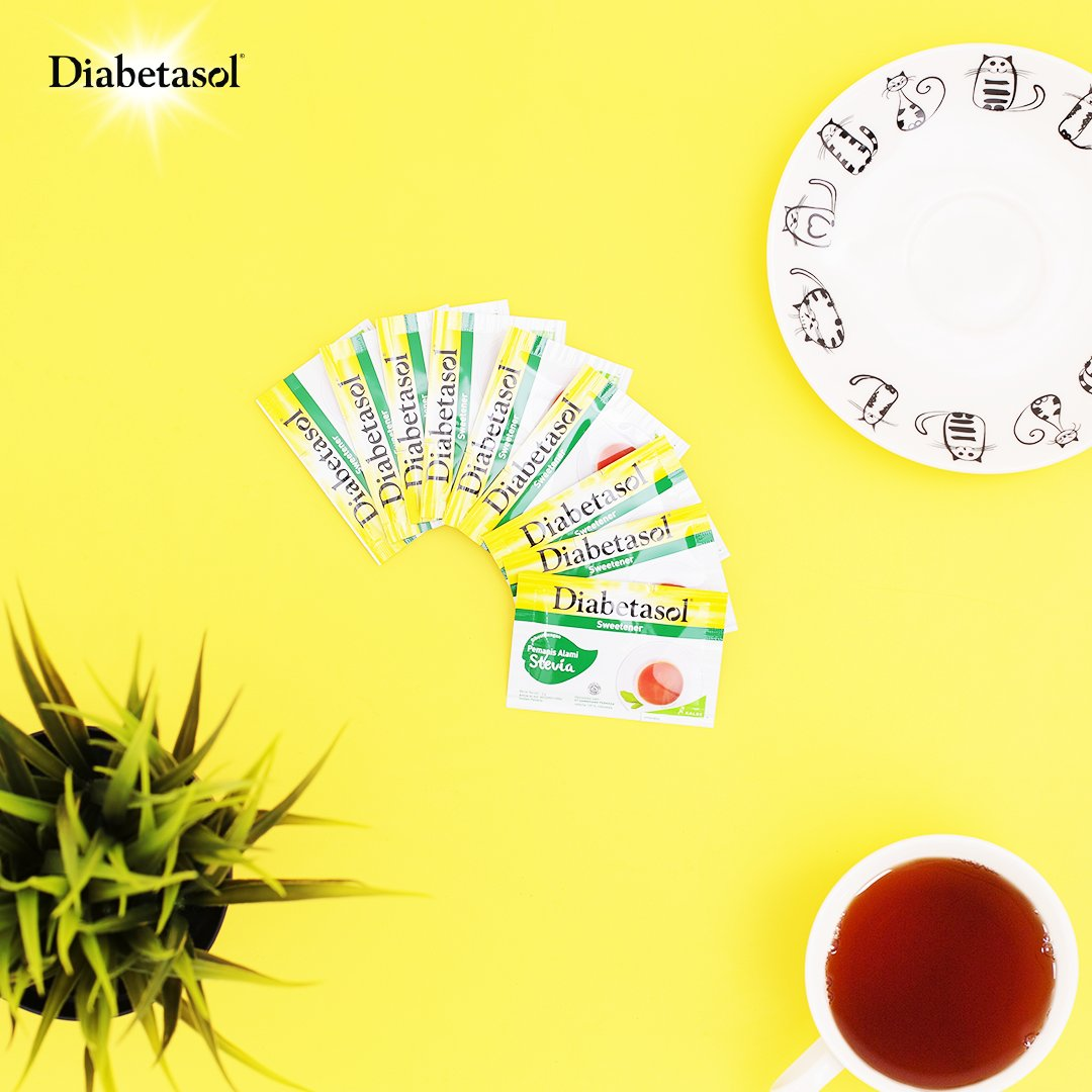 Sahabat Sehat, ada cara yang lebih menyenangkan untuk menjaga gula darah!  Caranya, ganti rasa manis dengan Diabetasol Sweetener Stevia yang rendah kalori terbuat dari daun alami stevia dan tidak bikin gula darah naik.   #JagaGulamu #WaktunyaDiabetasol #IndonesiaLawanDiabetes