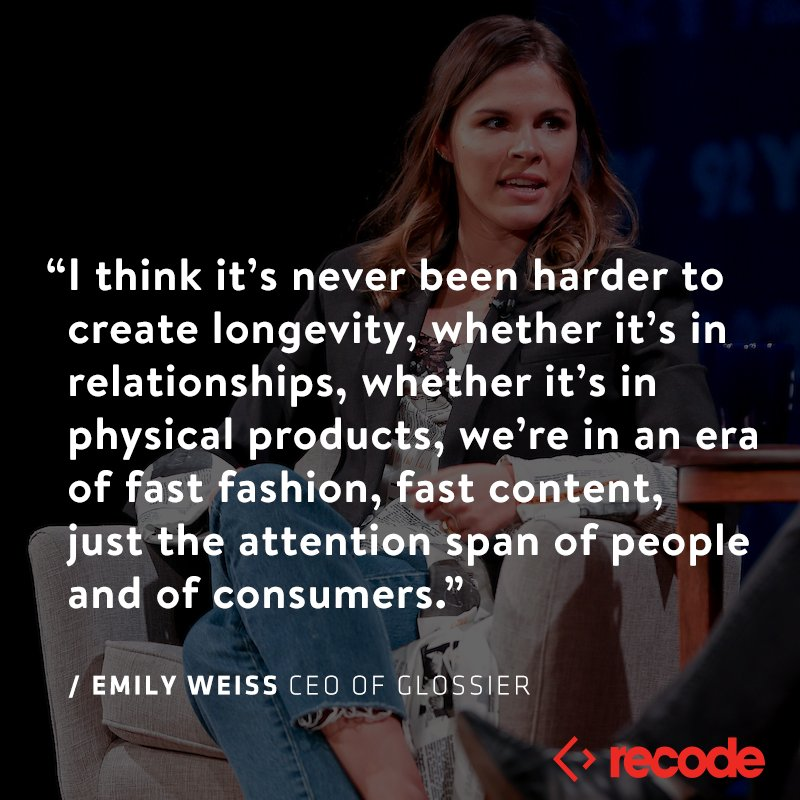 """.@glossier CEO @EmilyWWeiss on the """"art and science"""" of the beauty business. Listen to this week's Recode Decode with @karaswisher: https://www.recode.net/podcasts/2019/1/16/18185512/glossier-ceo-emily-weiss-beauty-makeup-interview-podcast-recode-decode-kara-swisher?utm_campaign=recode.social&utm_content=recode&utm_medium=social&utm_source=twitter…"""