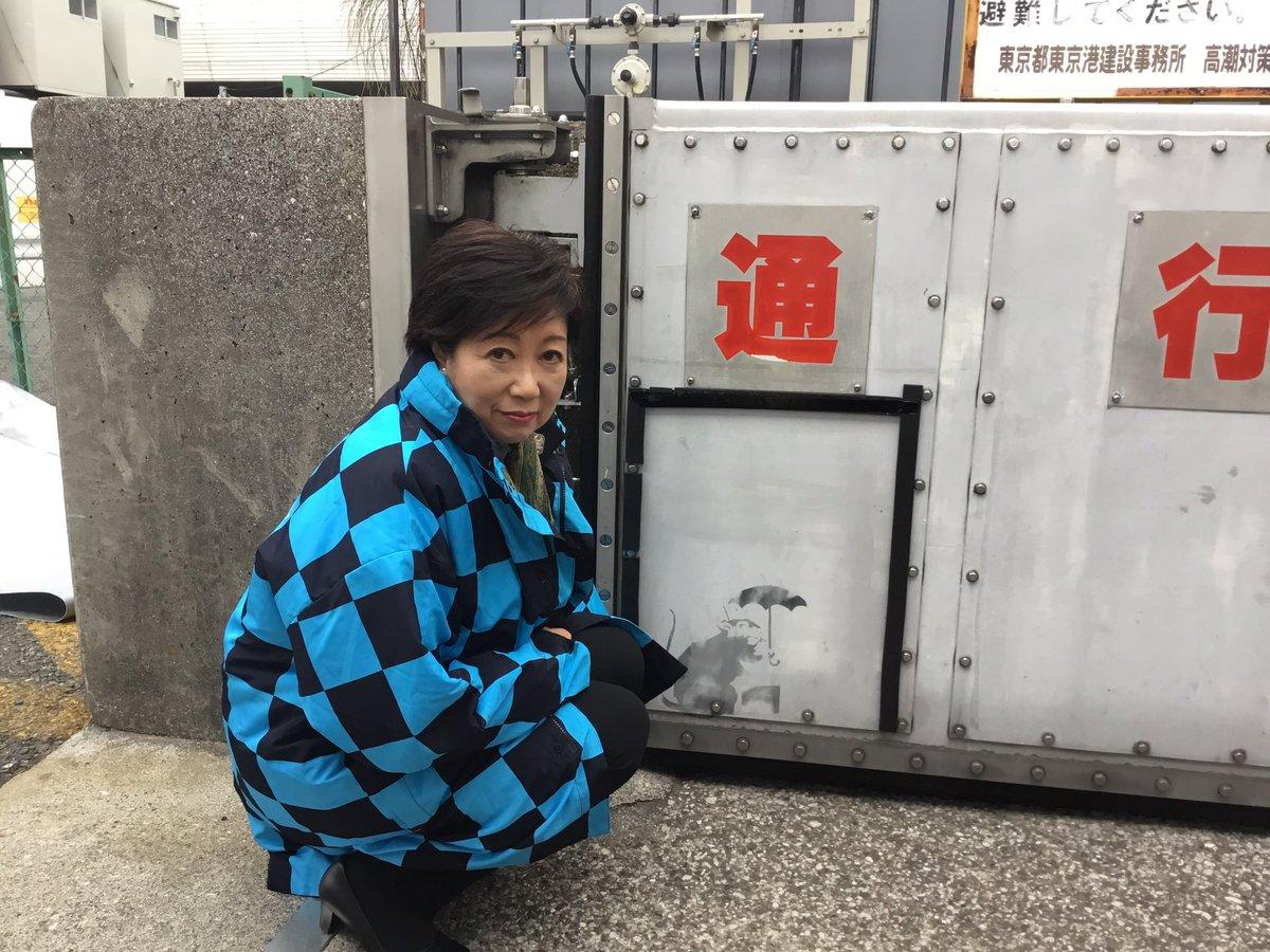 あのバンクシーの作品かもしれないカワイイねずみの絵が都内にありました!  東京への贈り物かも? カバンを持っているようです。