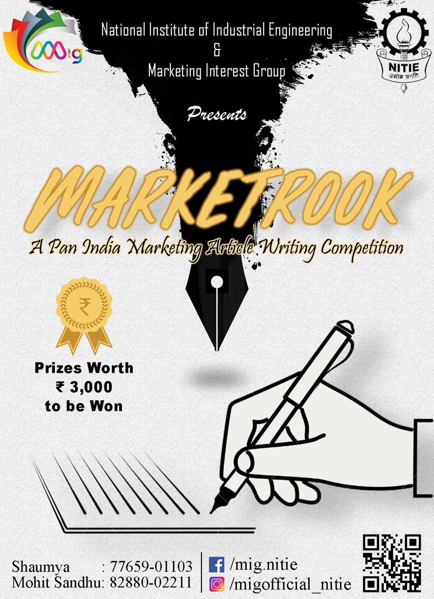 MARKETROOK-a pan India marketing article writing competition is here !!! Prizes worth 3k to be won Registration started  Link: https://t.co/dbHl7JmPQL #Marketrook #MARKSFETE #MIG #NITIE https://t.co/2CnYXqmobt