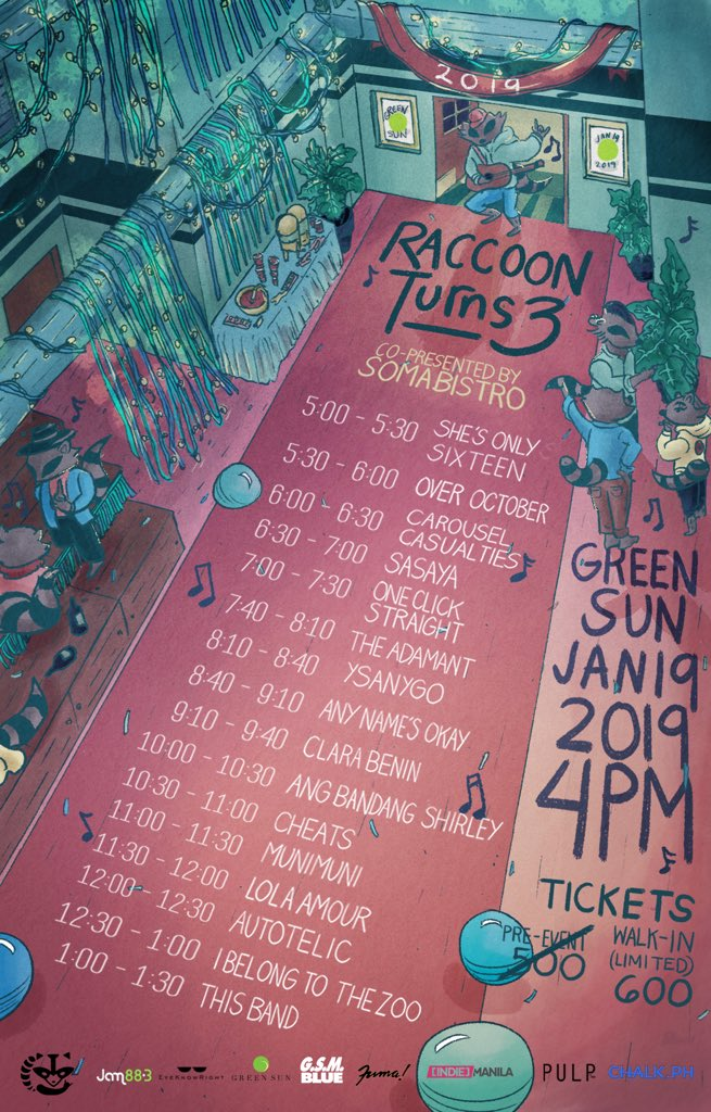 Here's the schedule for #RaccoonTurns3! Who else is excited?We'll be accepting (limited) walk-ins starting 2PM! Gates open at 4PM!   Fill your stomachs w/ Brozo's Shawarma, Jess &amp; Pat's meals, Tacos, and more!   Get bottomless GSM and Primera cocktails for only P150! See you  <br>http://pic.twitter.com/Z1D3lhuE4b