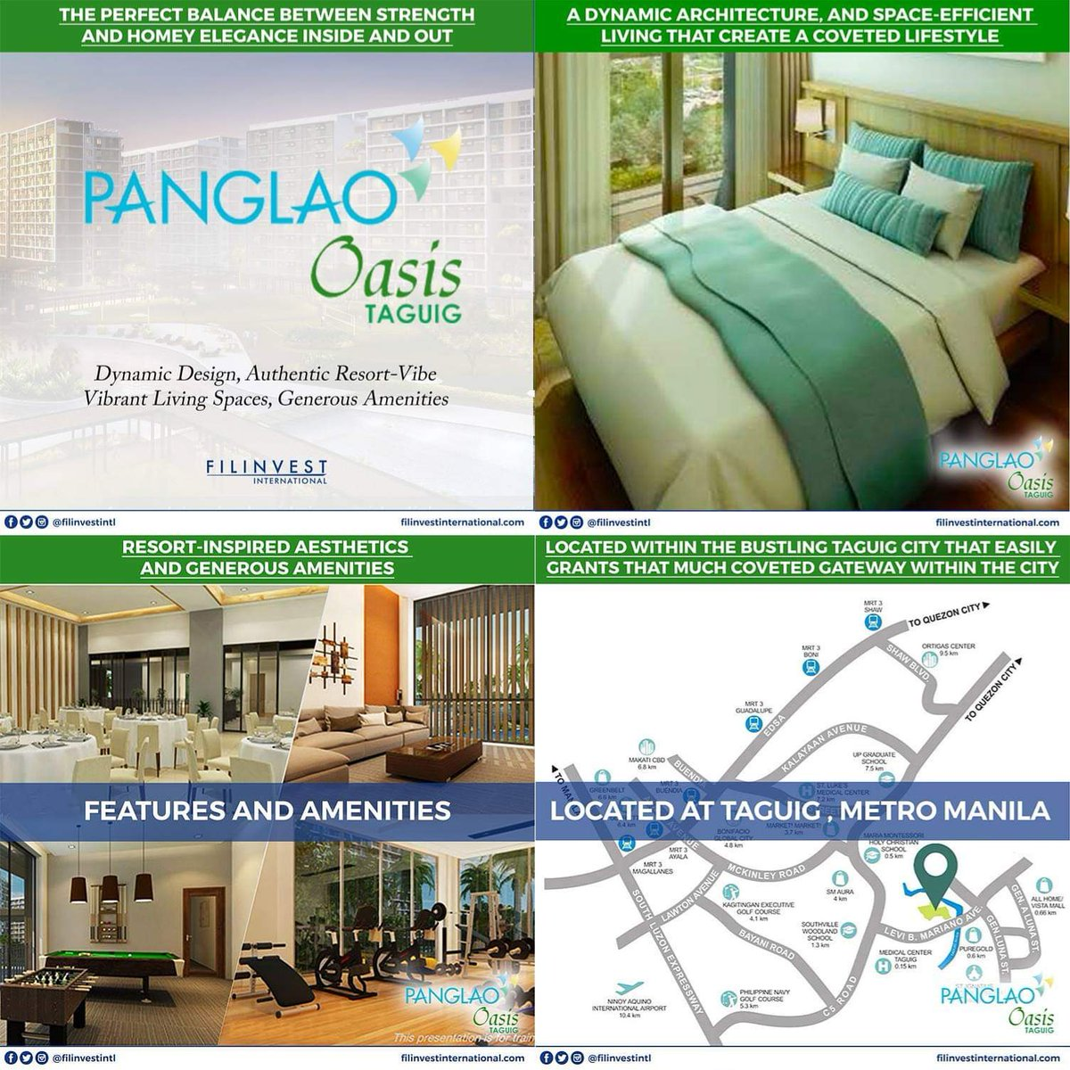 Panglao Oasis is a mid-rise and resort inspired residential community in Taguig City. It provides space-efficient condominium living that is inspired by the essence of nature. A secured community that grants the residents the opportunity to enjoy tranquility and serenity. https://t.co/6HxYrJKag2