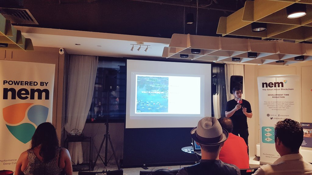 """Our Founder & CEO @excessuk giving a presentation on @maecenasart at """"Why NEM?"""" - @NEMofficial Singapore's 1st Anniversary event. Thank you William & @bit_temple for organizing! #maecenas #NEMSingaporeEcosystem"""