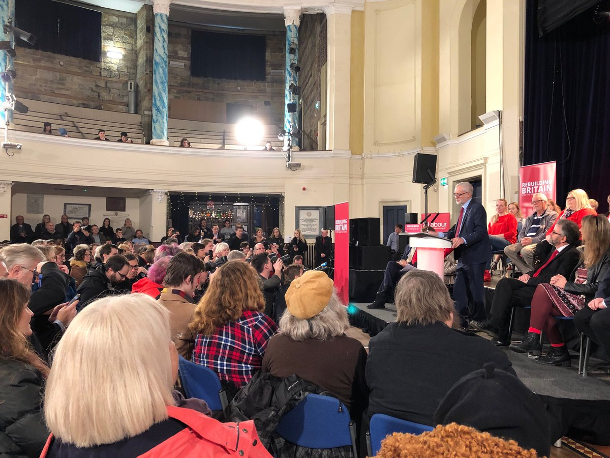 Jeremy Corbyn addresses 2-300 Labour activists at party rally in Hastings.  By far the majority of the several dozen to whom I've spoken here this morning want a second referendum on Brexit, even though Hastings voted nearly 55% for Leave in 2016