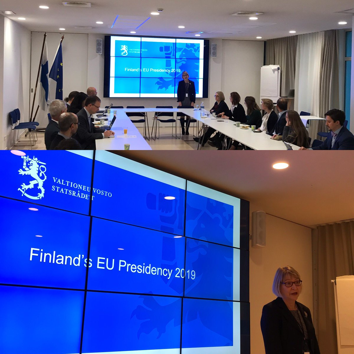 Preparations for the Finnish Presidency of the @EUCouncil starting on July 1st are in full swing; Permanent Representative @MarjaRislakki, @Kivimakim, @HannaLeht briefing Brussels-based think tanks about our plans @FinPermRepEU this morning. 🇫🇮🇪🇺 – at Permanent Representation of Finland to the EU
