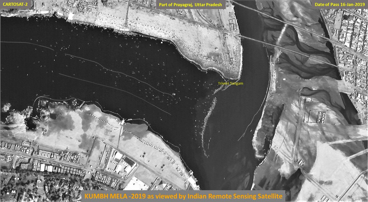 These are two images captured by Indian Remote Sensing Satellite #Cartosat2 showing key areas in and around #KumbhMela2019.