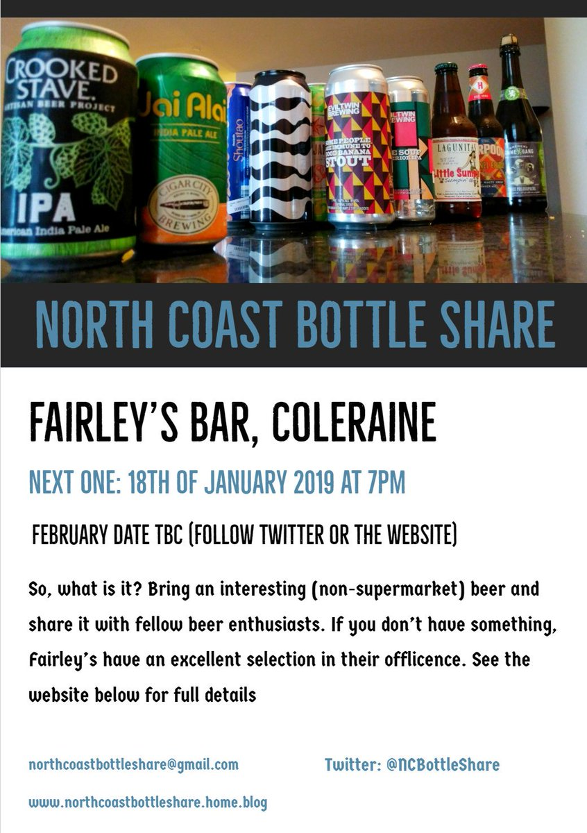 Don&#39;t forget, the second North Coast Bottle Share takes place tomorrow night in @FairleysWines near the train/bus station. #Tryanuary #bottleshare  https:// northcoastbottleshare.home.blog  &nbsp;  <br>http://pic.twitter.com/SVDWKxqhMc