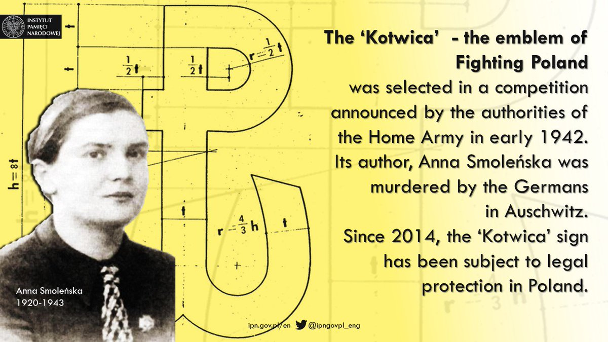 """The 'Kotwica"""" sign -  the emblem of #FightingPoland – was created in 1942 as a symbol of resistance against German occupation of Poland. #PolishUndergroundState #OccupiedPoland #WWII #WW2  #HomeArmy #Polishhistory #Kotwica"""