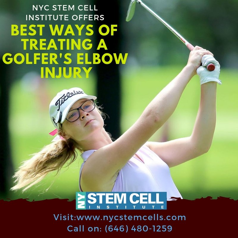 Golfer's #elbow causes pain and inflammation in the tendons that connect the forearm to the elbow. NY Stem Cell Institute offers pain management services for treating Golfer,s elbow injuries.  Visit Us >> http://bit.ly/2QEmERN  #golfers #Fitness #joints #Symptoms #USAhealth