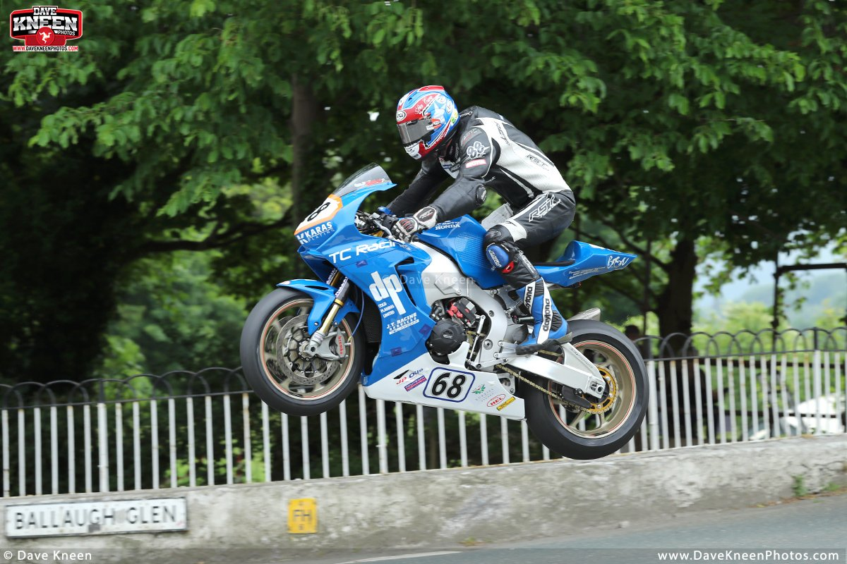 Putting on a great show at Ballaugh Bridge during the 2018 Isle of Man TT Races, Paul Jordan sends the DP Coldplaning/TC Racing Honda high in the air during the RST Superbike TT race. <br>http://pic.twitter.com/KgQntiTBXf
