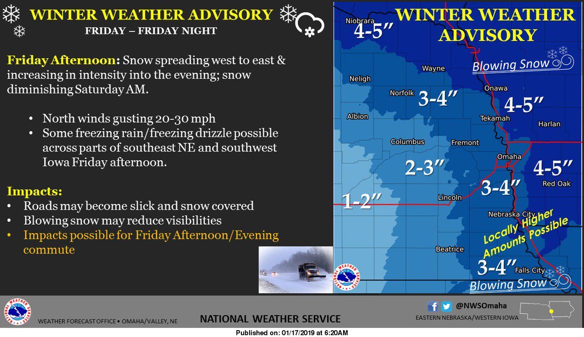 A Winter Weather Advisory is in effect for Friday and Friday night as snow spreads across the region. #iawx #newx