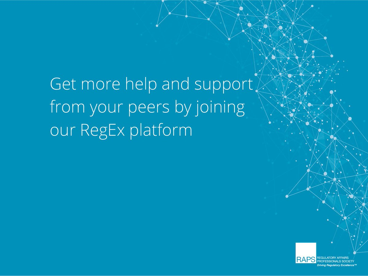 Do you need more support from your peers? Do you have questions that need to be answered by regulatory experts? Use our RegEx platform to get the help and support you need: https://bit.ly/2yLsLYC