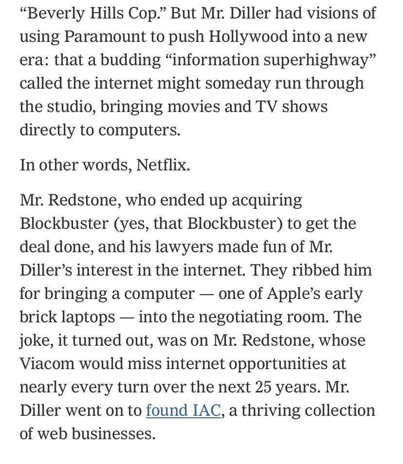 "fascinating read on the decline of Paramount by @brooksbarnesNYT & @amychozick - esp loved this bit on Barry Diller getting mocked by Redstone's lawyers for his early interest in ""The Internet"" https://www.nytimes.com/2019/01/17/business/media/paramount-pictures.html …"