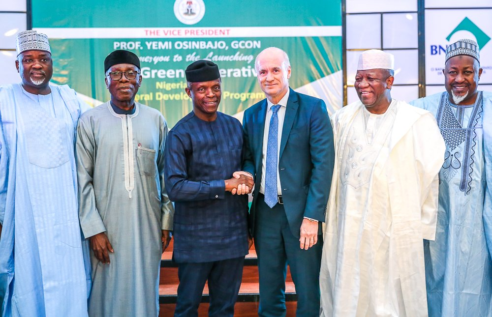 """PHOTOS:  Vice President @ProfOsinbajo today in Abuja launched the """"The Green Imperative"""", a Nigeria-Brazil  Agricultural Development Programme aimed at boosting agricultural  production in Nigeria.  #AsoVillaToday<br>http://pic.twitter.com/JfQmh1SWoW"""