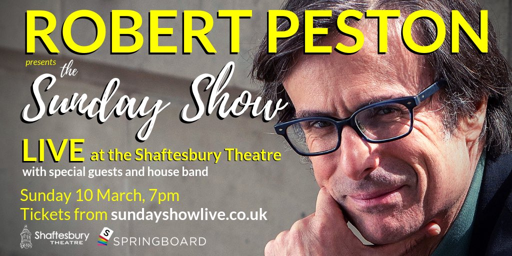 A very different kind of politics show. Unplugged. With me. Live, at the Shaftesbury Theatre, 10 March, 7pm ⁦@springboardlive⁩ ⁦@Shaftesbury1911⁩