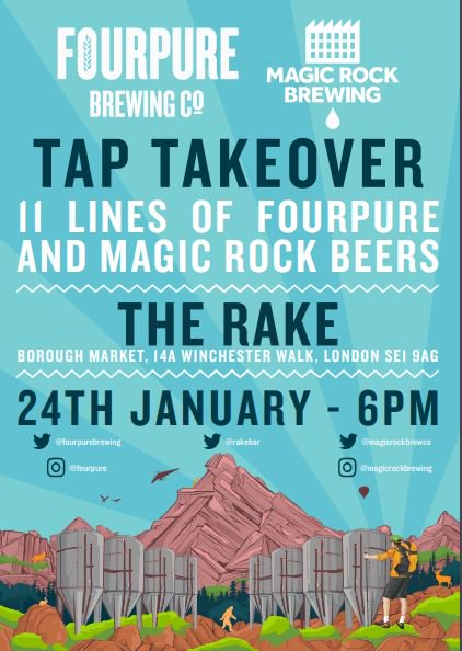 Image for Dry Jan? That's too bad. Cos we're doing a joint #taptakeover with @MagicRockBrewCo at @Rakebar on the 24th!!!  One day can't hurt. We won't tell ???????? https://t.co/WpVP6sOY1n