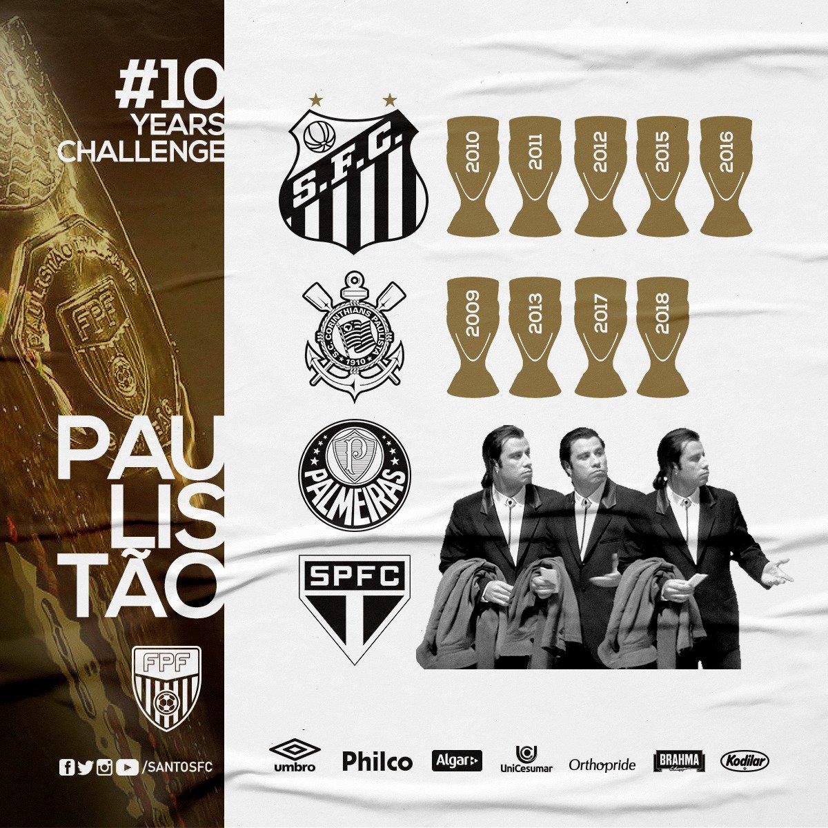 O #10YearsChallenge de hoje é um aquecimento para o Paulistão 2019. #AquiÉSantos 🏆