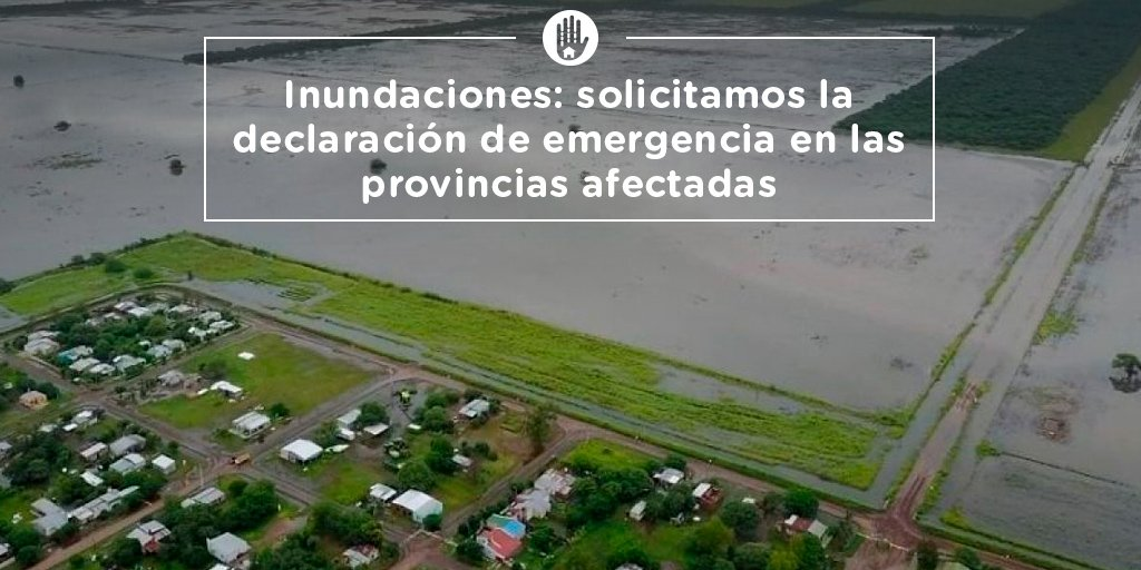 Solicitamos al ministro @dante_sica y al jefe de Gabinete, @marquitospena, la declaración de emergencia en las provincias afectadas por las inundaciones y que se implemente una ayuda financiera especial para todas las actividades económicas perjudicadas.https://goo.gl/xi2KM1