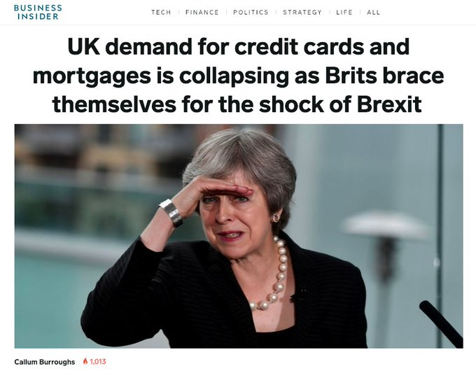 OUR FRONT PAGE: UK demand for credit cards and mortgages is collapsing as Brits brace themselves for the shock of Brexit. Read more: Photo