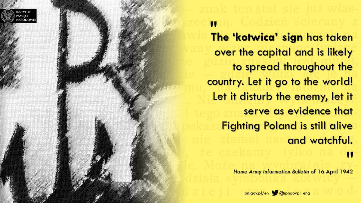 The #Kotwica emblem painted in thousands of places in #OccupiedPoland gave hope to millions of Poles, and was a signal to the Germans that the #PolishUndergroundState did not lay down arms in the struggle against the invader. #HomeArmy #FightingPoland @PLinNewYork @Greenpointers