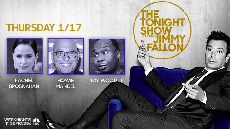 Tonight on the show: @RachelBros, @howiemandel and stand-up from @roywoodjr! Plus, Jimmy reads your funniest #7WordSuperpower tweets! #FallonTonight