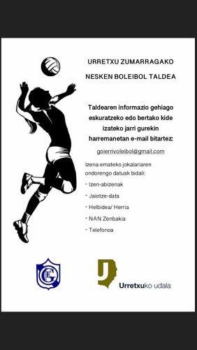 [EUS] Urretxun neskak boleibolean ere aritzen gara! Animatzen al zara?  [CAS] ¿Te apetece probar algo nuevo? ¿Te atreves con el volleyball? 😉 #kirola #deporte #neskak #voleyball